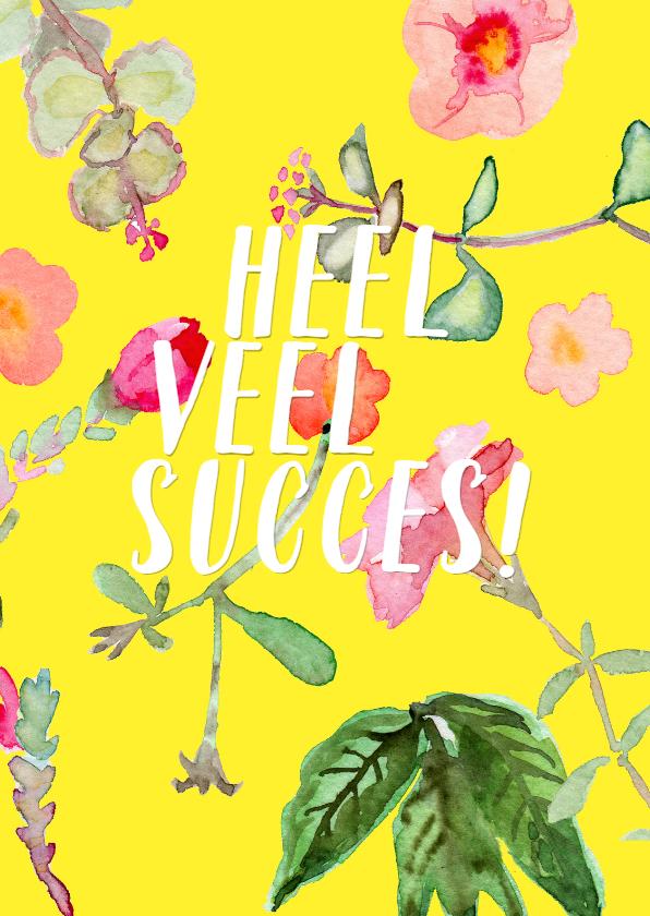 Succes kaarten - Succeskaart met vrolijke, geschilderde plantjes
