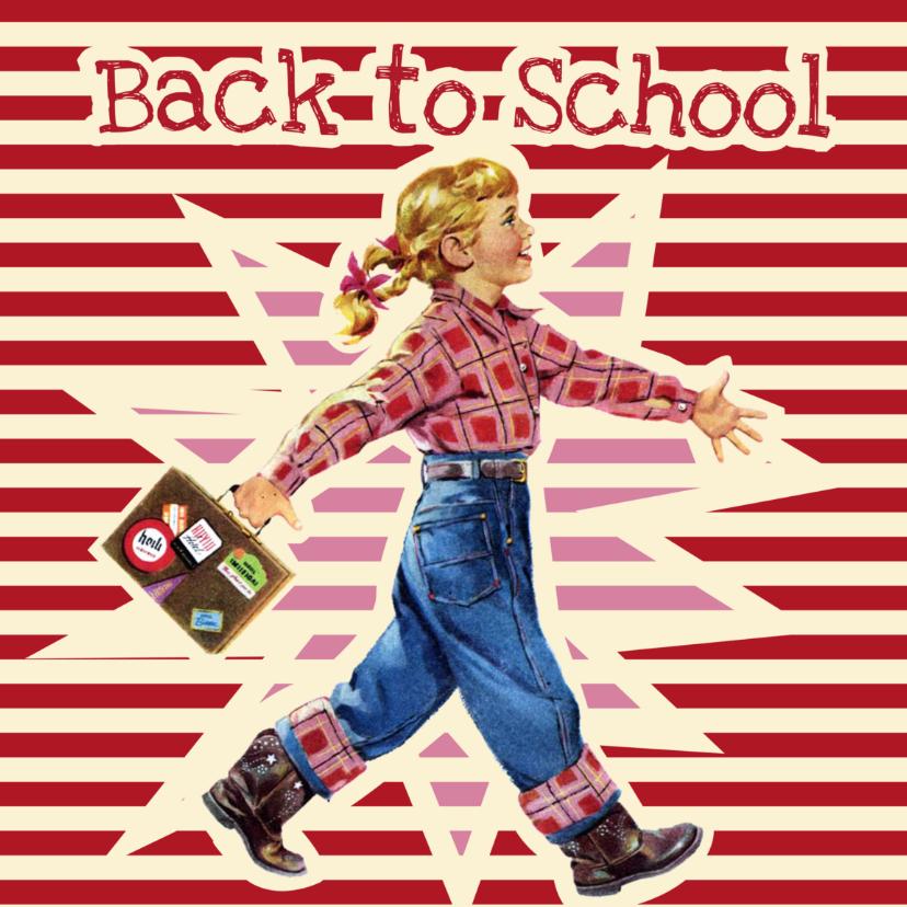 Succes kaarten - Vintage Back to school meisje