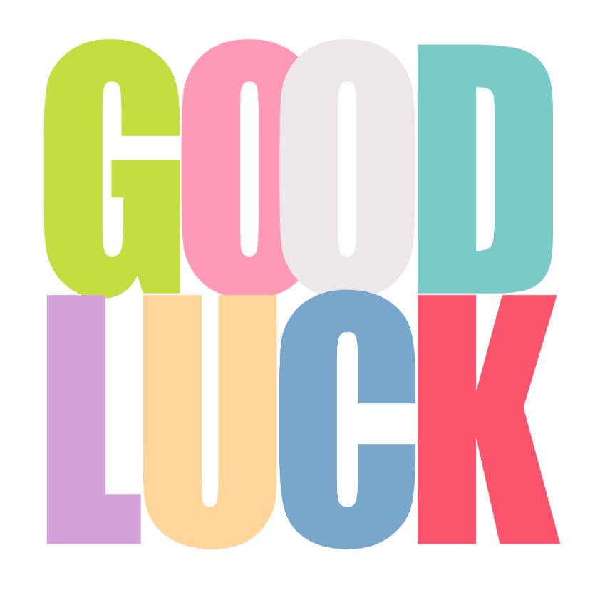 Succes kaarten - Woorden Kleur Good Luck - BK