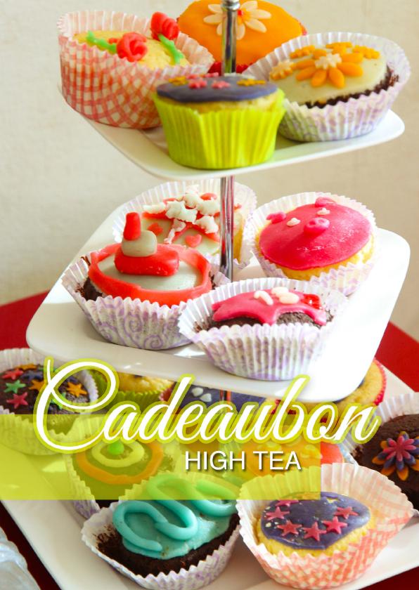Tegoedbon maken - Cadeaubon High Tea met foto van cakejes