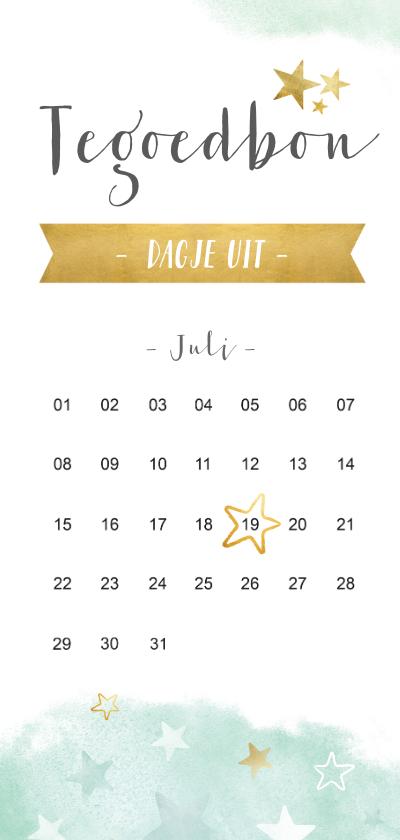 Tegoedbon maken - Dagje uit tegoedbon kaart met kalender en sterren