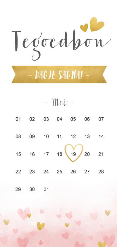 Tegoedbon maken - Langwerpige tegoedbon met kalender en hartjes