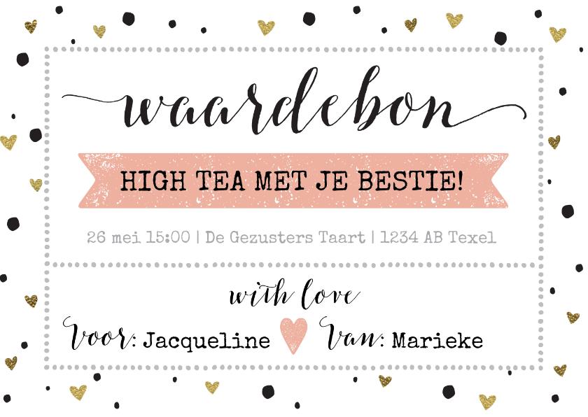 Tegoedbon maken - Tegoedbon invulbaar hartjes goud kalligrafie high tea