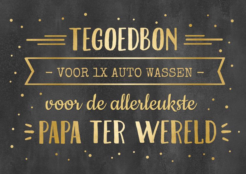 Tegoedbon maken - Tegoedbon kaart krijtbord met goud voor papa