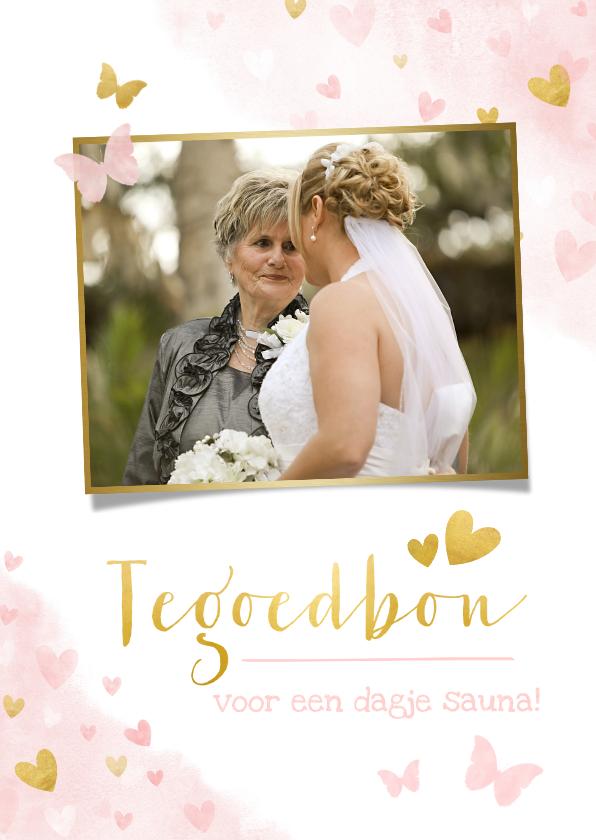 Tegoedbon maken - Tegoedbon kaart met foto, roze waterverf hartjes