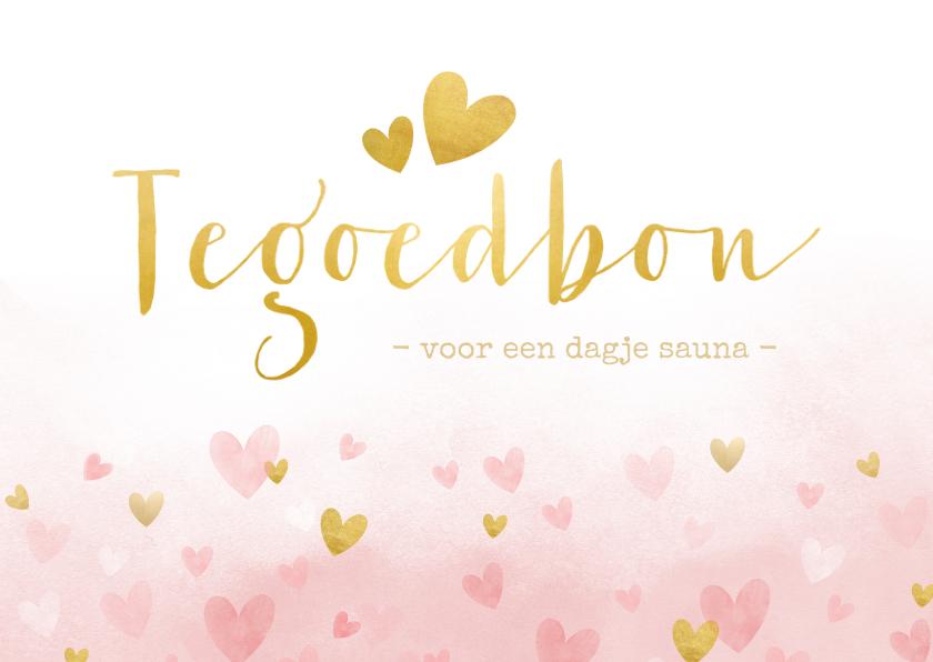 Tegoedbon maken - Tegoedbon met roze waterverf hartjes en goud