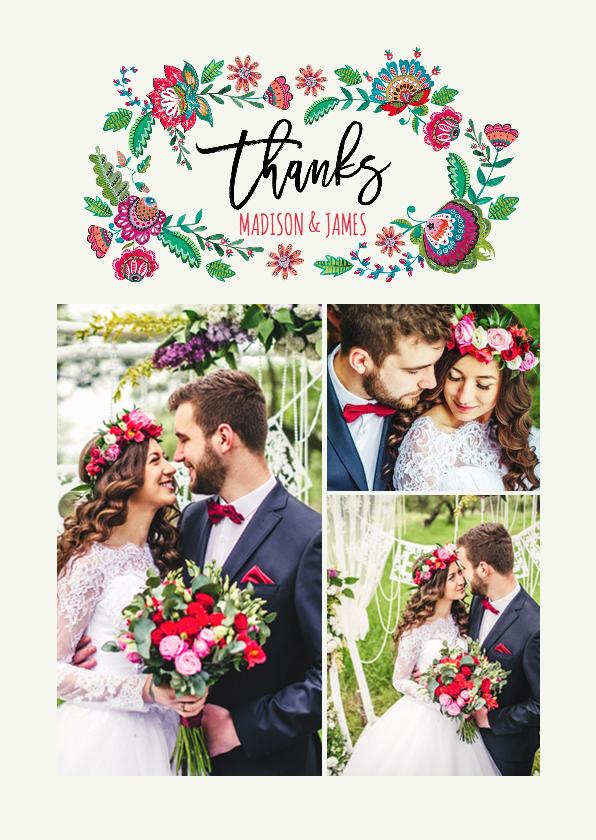 Trouwkaarten - Bedank kaartje Boho bloemen
