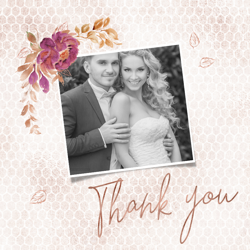 Trouwkaarten - Bedankkaart boeket met roos op honingraatmotief