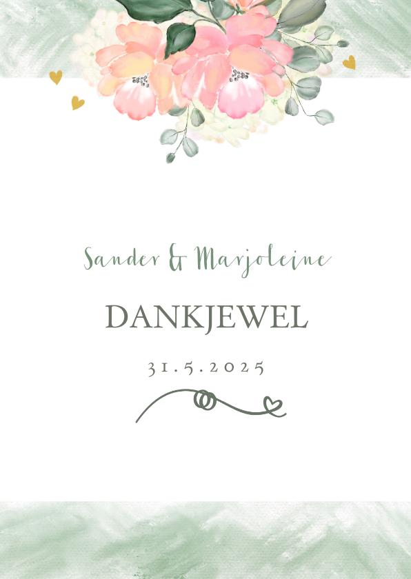 Trouwkaarten - Bedankkaart boeket rozen
