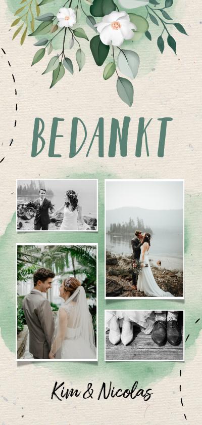 Trouwkaarten - bedankkaart bruiloft botanisch fotocollage doodle