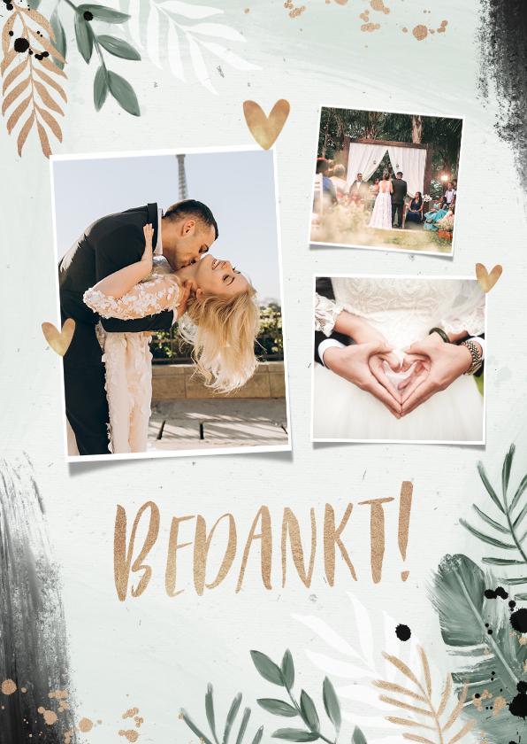 Trouwkaarten - Bedankkaart bruiloft botanisch goud waterverf foto