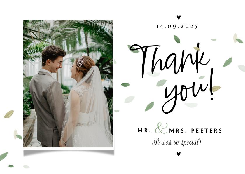 Trouwkaarten - Bedankkaart bruiloft ecologisch blaadjes thank you fotokaart
