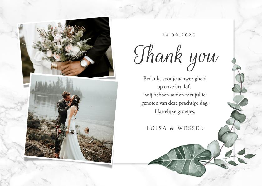 Trouwkaarten - Bedankkaart bruiloft marmer stijlvol klassiek eucalyptus