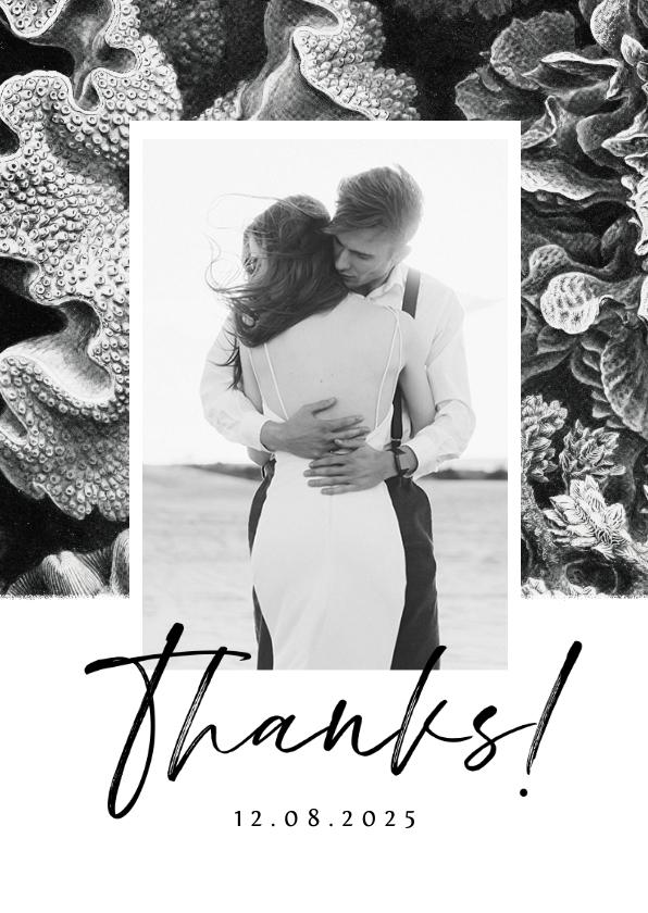 Trouwkaarten - Bedankkaart bruiloft onderwater zwart wit stijlvol foto