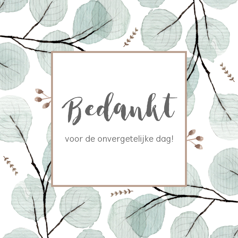 Trouwkaarten - Bedankkaart eucaplyptus, aanpasbare tekst