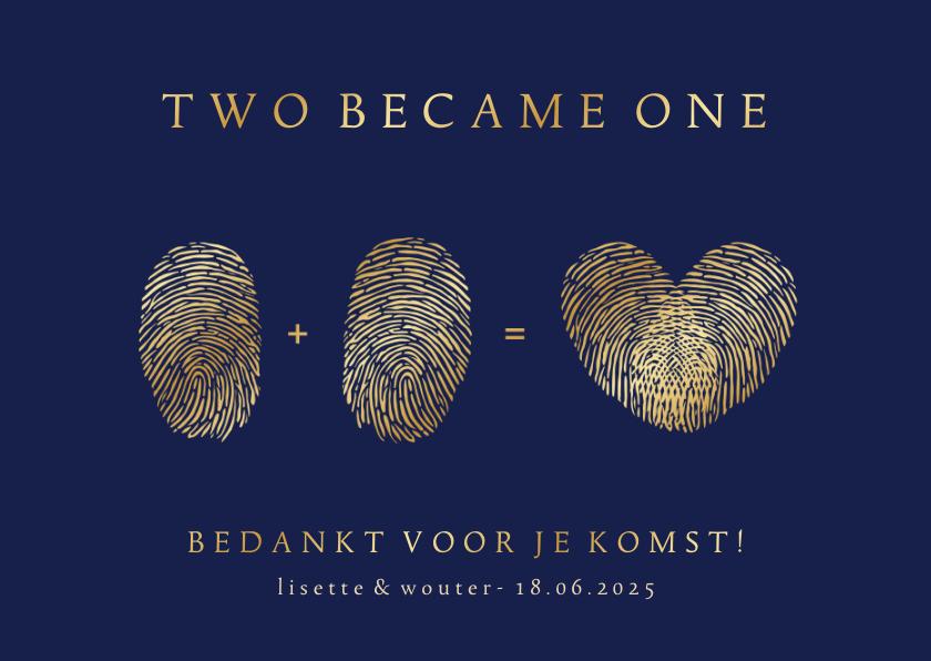 Trouwkaarten - Bedankkaart huwelijk met vingerafdrukken - two became one