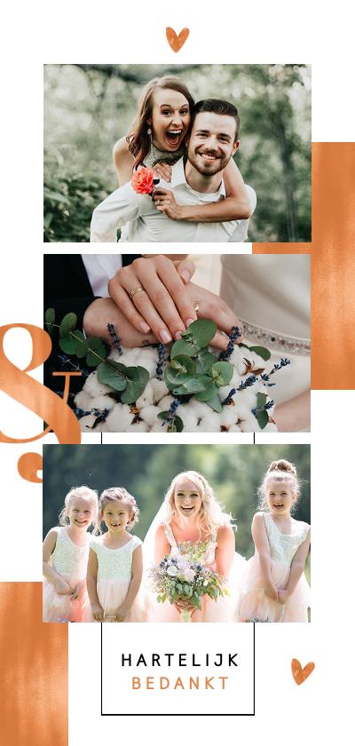 Trouwkaarten - Bedankkaart koper stijlvol chique fotocollage grafisch