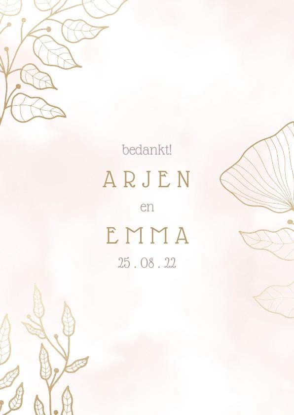 Trouwkaarten - Bedankkaart met elegante bloemen en waterverf