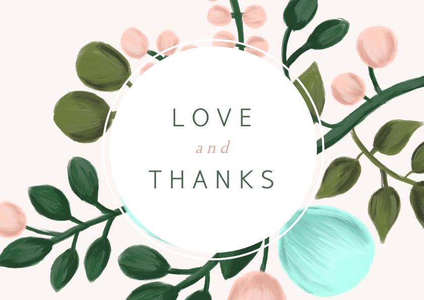 Trouwkaarten - Bedankkaart met geschilderde takken en kader