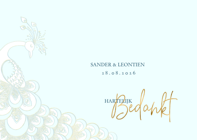 Trouwkaarten - Bedankkaart sierlijke pauw wit-blauw-goud