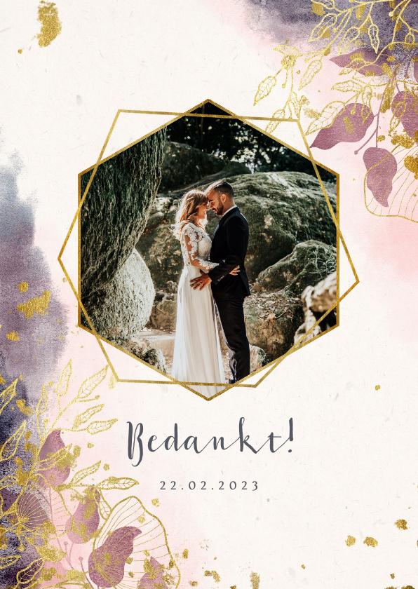 Trouwkaarten - Bedankkaart stijlvol met foto, waterverf en gouden bloemen