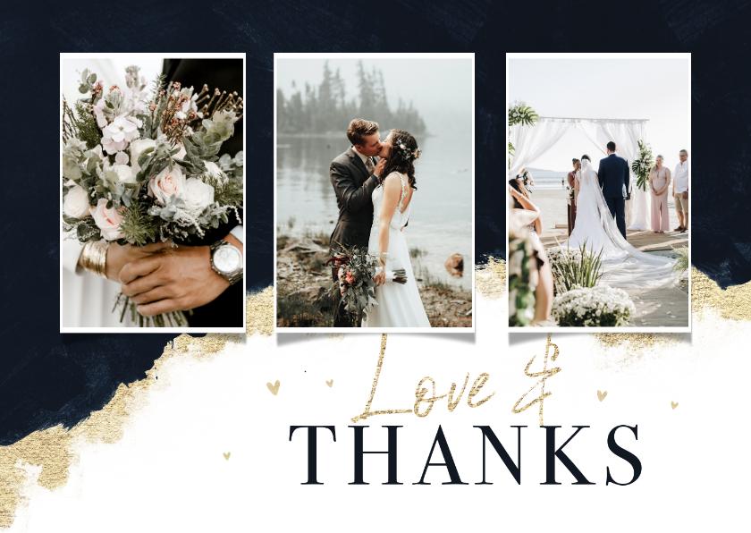 Trouwkaarten - Bedankkaart stijlvol verf goud hartjes inkt bruiloft trouwen