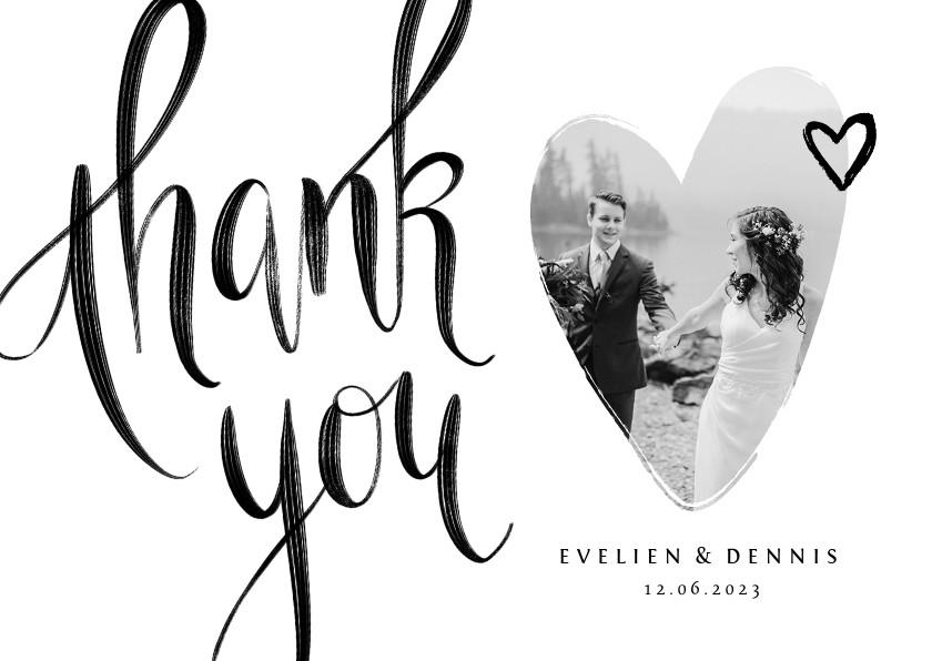 Trouwkaarten - Bedankkaart thank you stijlvol kalligrafie zwart wit foto