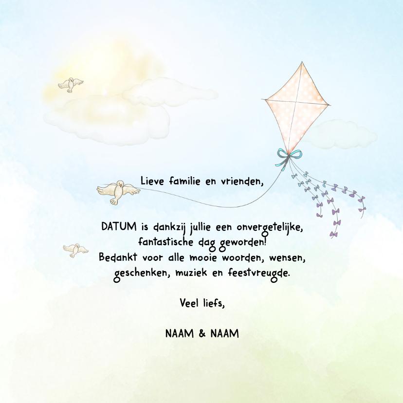 Trouwkaarten - Bedankkaart trouw met vlieger
