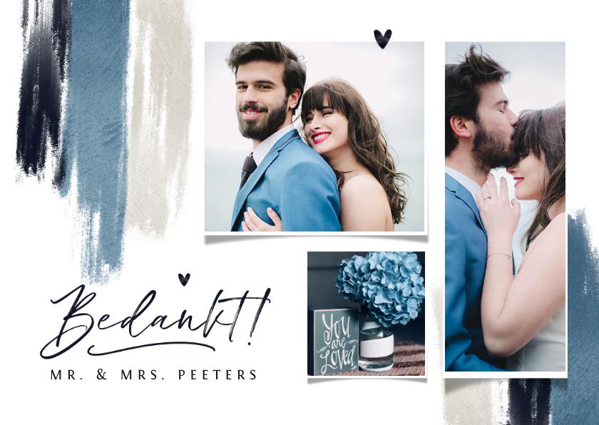 Trouwkaarten - Bedankkaart trouwen blauw verf hartjes stijlvol fotocollage