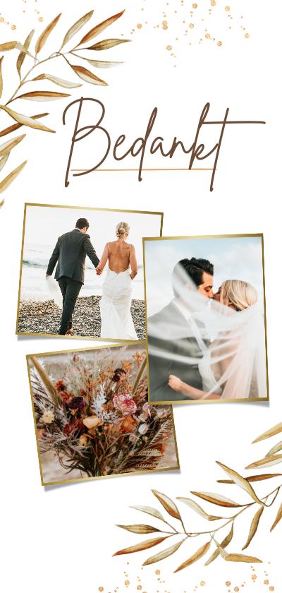 Trouwkaarten - Bedankkaart trouwen goud bohemian takje foto's