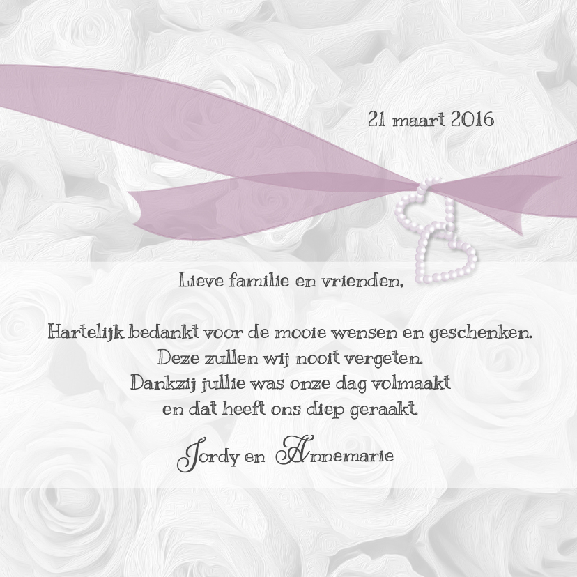 Trouwkaarten - Bedankkaart witte rozen en lint