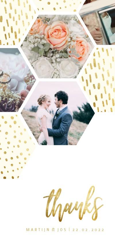 Trouwkaarten - Bedankkaart zeshoek fotocollage met gouden confetti