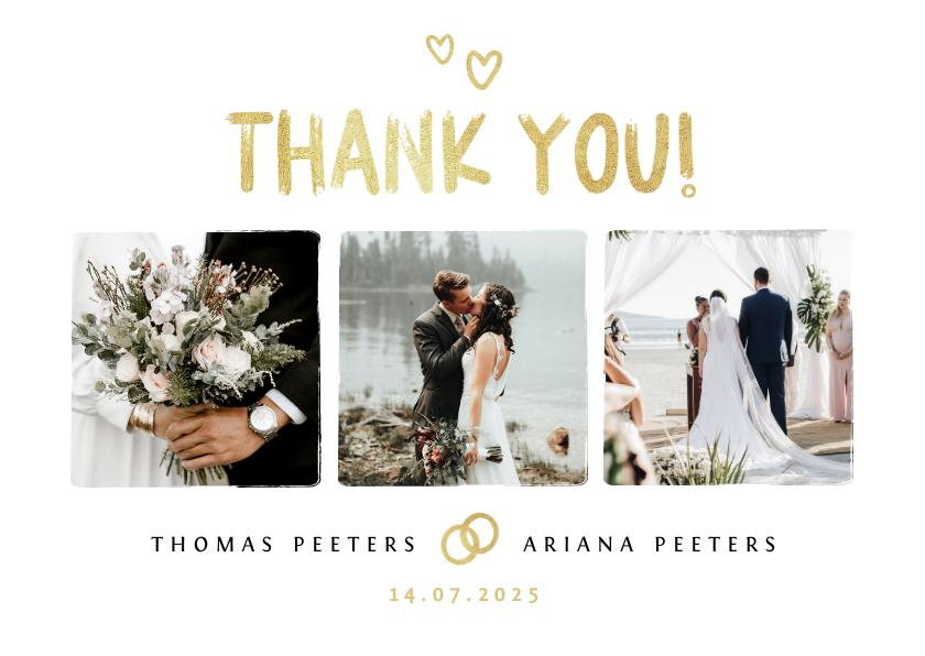 Trouwkaarten - Bedankkaartje bruiloft fotocollage goud hartjes foto's