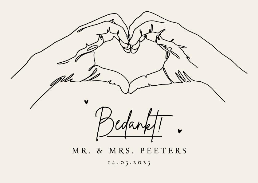 Trouwkaarten - Bedankkaartje bruiloft stijlvol pastel lijntekening foto