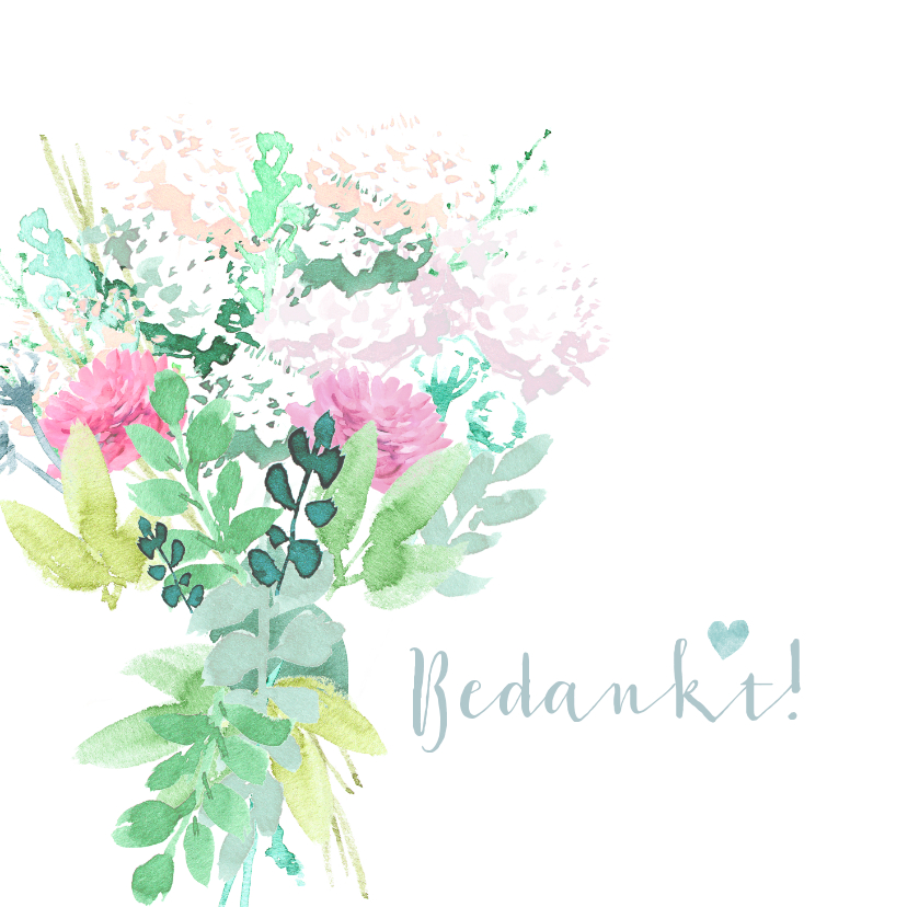 Trouwkaarten - Bedankkaartje met pastel bloemen en duifjes