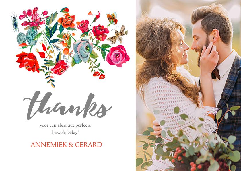 Trouwkaarten - Bedankkaartje Secret Rose Garden