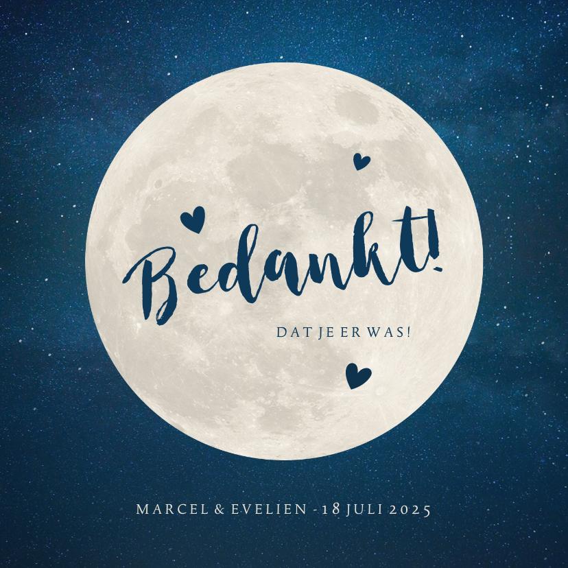 Trouwkaarten - Bedankkaartje trouwen - met volle maan en hartjes