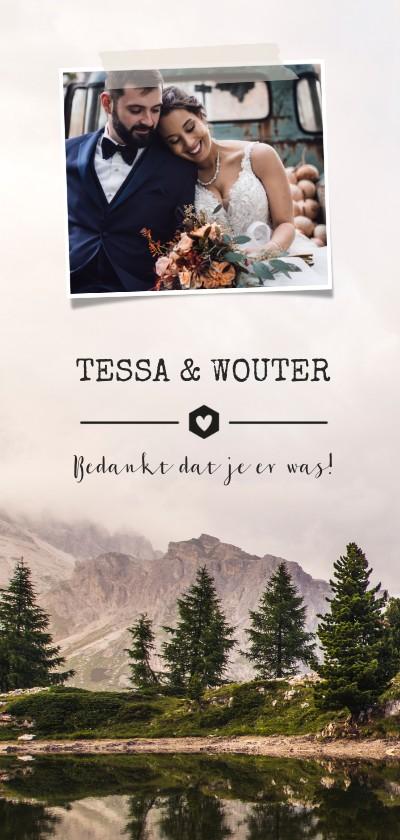 Trouwkaarten - Bedankkaartje trouwen stoer met berglandschap en foto