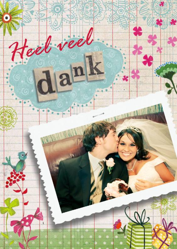 Trouwkaarten - Bedankkaartje trouwen vrolijk
