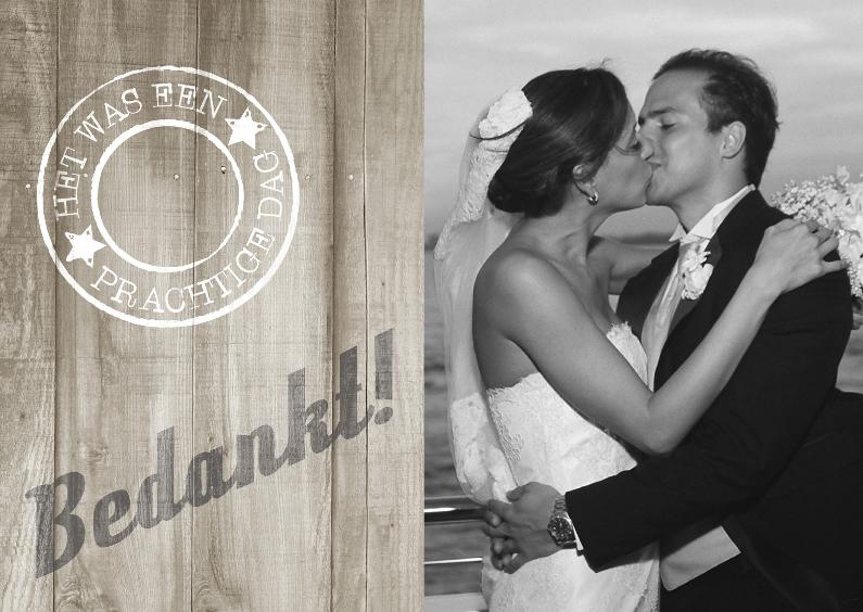 Trouwkaarten - Bedankkaartjes Huwelijk Hout