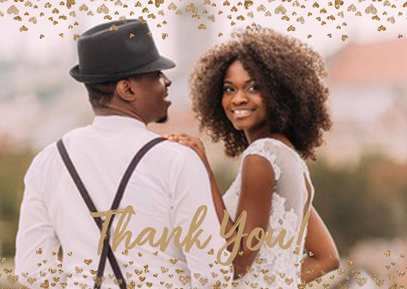 Trouwkaarten - Bedankt bruiloft goud hartjes