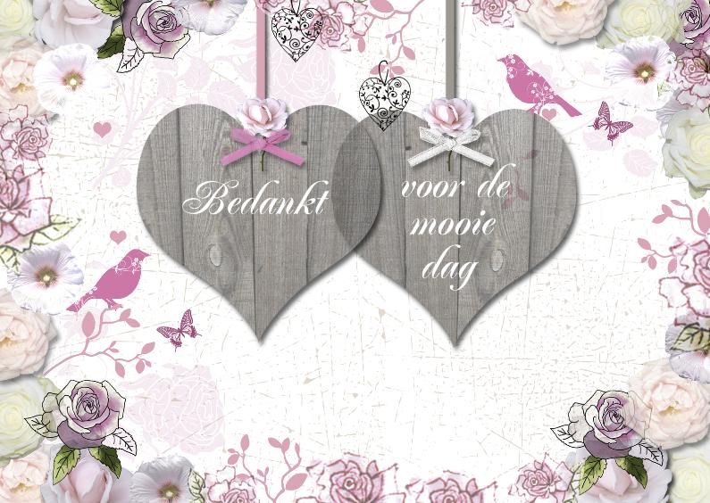 Trouwkaarten - bedankt hartjes trouwen