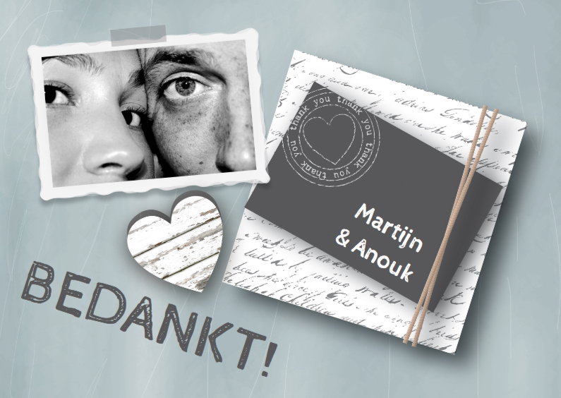 Trouwkaarten - Bedankt Hip & Stoer Mint