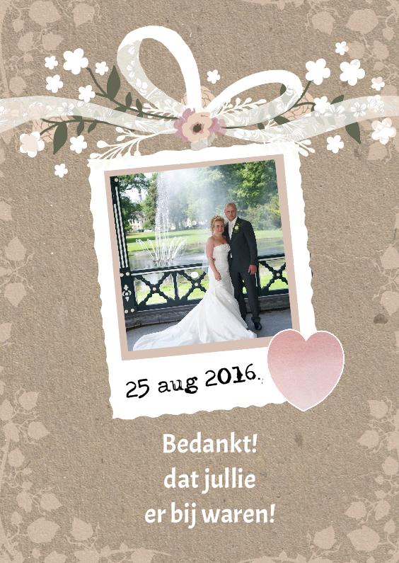 Trouwkaarten - Bedankt huwelijk foto naturel