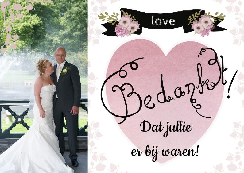 Trouwkaarten - Bedankt huwelijk hart
