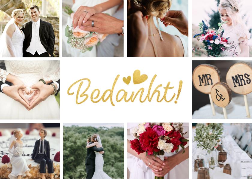 Trouwkaarten - Bedankt kaartje trouwen fotocollage met 10 foto's
