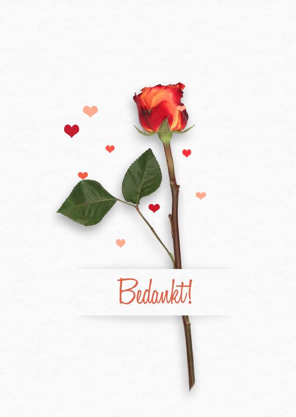 Trouwkaarten - Bedankt trouwen roos RB