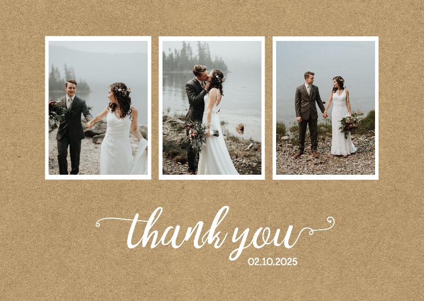 Trouwkaarten - Bedanktkaart huwelijk drie foto's chique