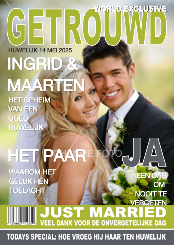 Trouwkaarten - Bedanktkaartje Huwelijk Tijdschrift