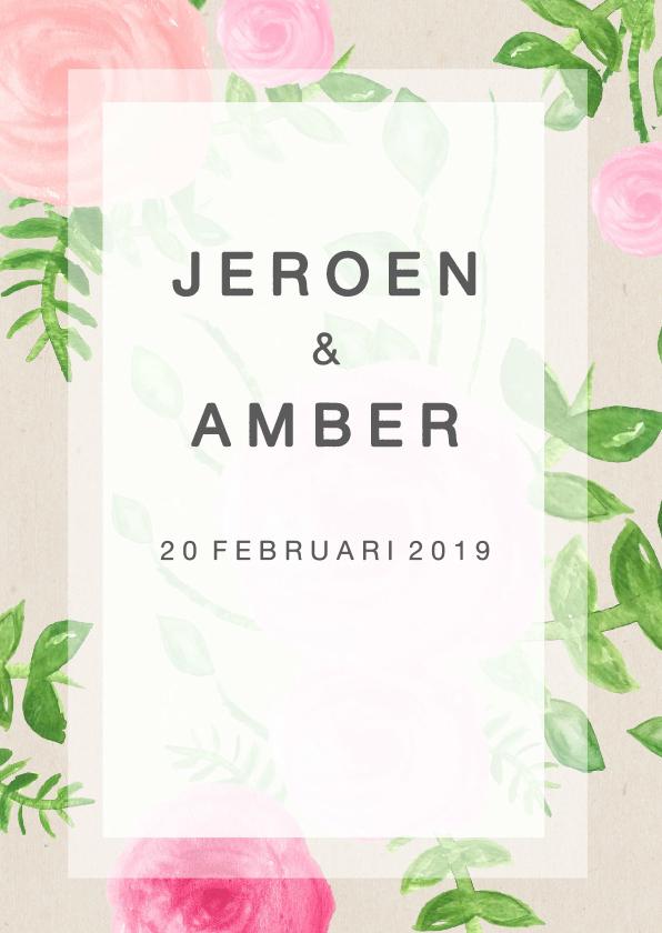 Bruiloft Uitnodiging Receptie : Bloem uitnodiging bruiloft su trouwkaarten kaartje go